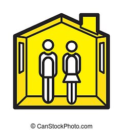 Stay at home concept. Coronavirus COVID-19 outbreak advice. Icon vector illustration