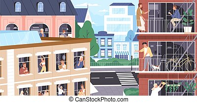 Stay at home concept. Coronavirus isolation period. People work, relax, doing sports at home. Neighbors in windows, on balconies. Quarantine during pandemic. Vector illustration in flat cartoon style