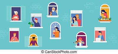 Stay at home, concept design. Different types of people, family, neighbors in their own houses. Self isolation, quarantine during the coronavirus outbreak. Vector flat style illustration stock illustration