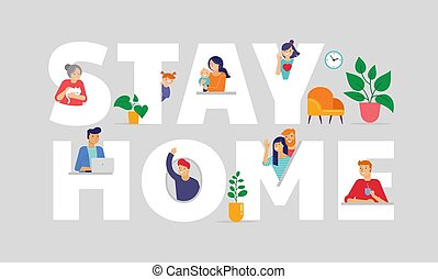 Stay at home, concept design. Different types of people look out and communicate with their neighbors during COVID-19 outbreak. Self isolation, quarantine during coronavirus epidemic. Vector flat style illustration