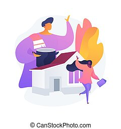 Stay-at-home dads abstract concept vector illustration. Stay-at-home father, house dad, taking kid to school, work home, breadwinner mom, parental leave, spend time with child abstract metaphor.