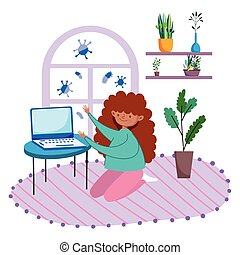 stay at home, girl on the room floor with laptop