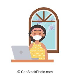 stay at home, girl with medical mask and laptop in the room