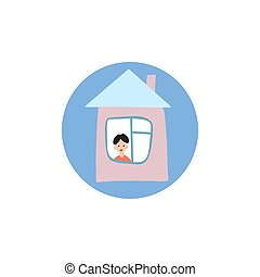 stay at home icon, a young man is in his house and looks out the window