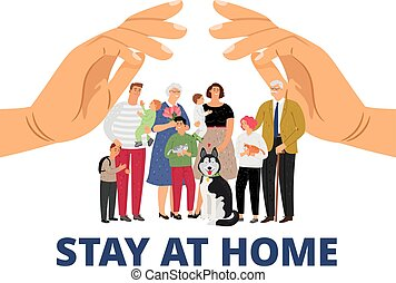 Family care. Stay at home, pandemic or epidemic concept. Big family, mother father elderly children and pets under hands vector concept
