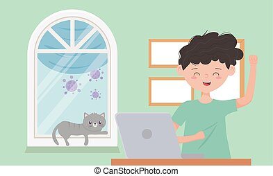 stay at home quarantine, boy with laptop and cat in room window