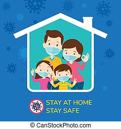 stay at home stay safe, Corona virus ,covid-19 campaign to stay at home. Dad Mom Daughter Son wearing a surgical mask in house icon. lifestyle activity that you can do at home to stay healthy.