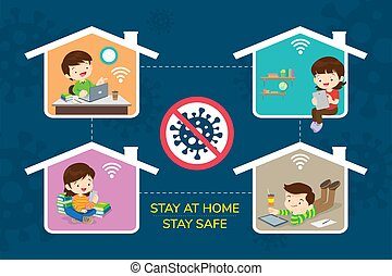 stay at home stay safe, Corona virus ,covid-19 campaign to stay at home. children Boy and Girl using technology gadget in house icon. lifestyle activity that you can do at home to stay healthy.