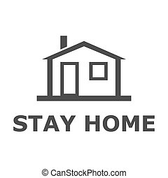 Stay at home text with home icon. Vector illustration.