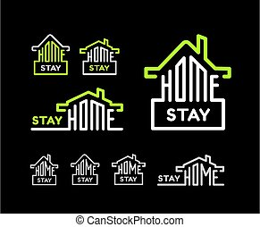 Stay at home. Vector set on black background