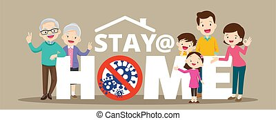 Stay at home with family protective self for prevent coronavirus Wuhan Covid-19.Dad Mom Daughter Son grandparent stay safe campaign to stay at home ,lifestyle activity that you can do at home to stay healthy.