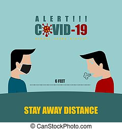 Stay away Distancing vector Illustration for template design