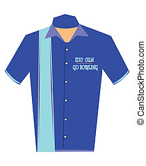 bowling shirt with stay calm message on it