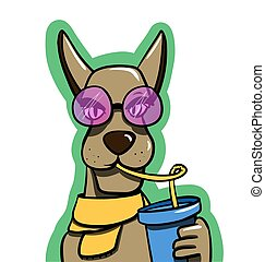 stay cool illustration with sipping a drink - vector ...