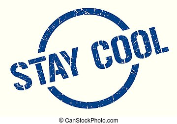 stay cool stamp - stay cool blue round stamp