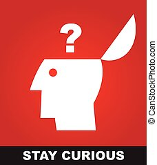 stay curious.keep curious. skeptic. - Simple flat icon of a...