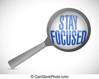 stay focused magnify glass illustration design over white