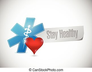 stay healthy sign message illustration