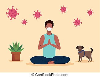 stay home, be safe, man meditating, during coronavirus covid 19, stay at home quarantine, be careful vector illustration design