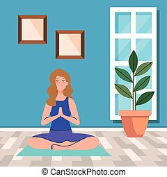stay home, be safe, woman meditating, during coronavirus covid 19, stay at home quarantine, be careful vector illustration design