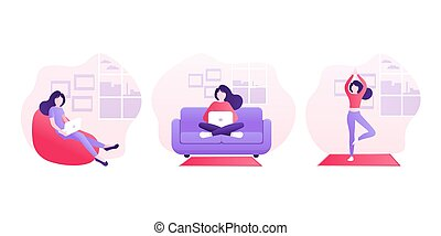 Stay home concept. Flat icon. Self isolation, quarantine due to coronavirus. Work from home.
