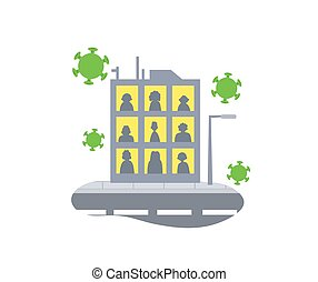 Stay home concept icon. People staying home due to quarantine. Stay home during the coronavirus epidemic. Coronavirus outbreak concept. Flat vector illustration, isolated.
