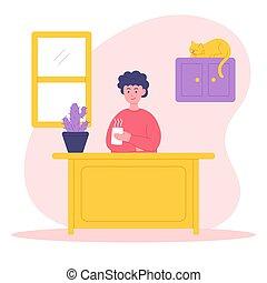Stay home concept illustration. Men are enjoying coffee. Self isolation, quarantine due to coronavirus. Vector illustration.