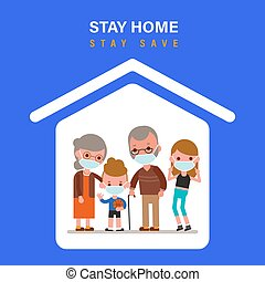 Stay home during the coronavirus epidemic. Family staying at home in self quarantine, protection from virus. Coronavirus outbreak concept. vector illustration in flat design style cartoon.