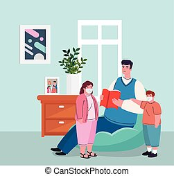 stay home, father with children wearing medical mask in living room, quarantine or self isolation