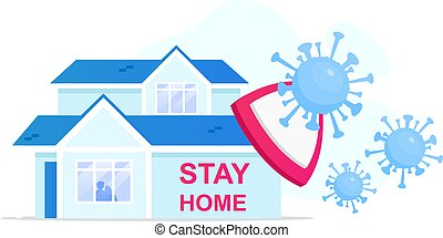 Stay home flat concept vector illustration