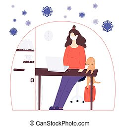 Stay home global concept. A woman is working at home on the laptop in a period of self isolation and social distancing during covid virus epidemic. The pet is very happy to spend time with the owners