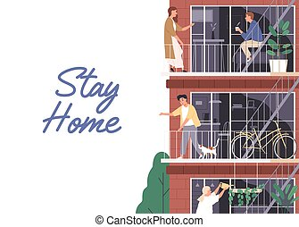 Stay home, isolation concept. Horizontal banner with a place for text. People spend time in apartment during coronavirus quarantine. Neighbors on balconies. Vector illustration in flat cartoon style