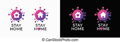 Stay home logo icon sticker for COVID-19 virus social media campaign. Coronavirus, COVID 19 protection logo with virus, house and heart - vector logo isolated on white and black