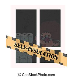 Stay home motivational illustration. A woman in a window locked herself in a house due to quarantine. Self-isolation during a viral pandemic.