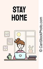 Stay home motivational vertical banner. Practicing self isolation. Work from home. Young female blogger sitting in front of the laptop. Vector flat style cartoon illustration