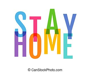 Stay home on white background