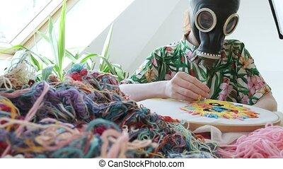 Stay home, quarantine leisure funny concept: needlework, ...