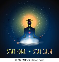 Stay home, stay calm. Meditation silhouette sitting in lotus position, vector illustration