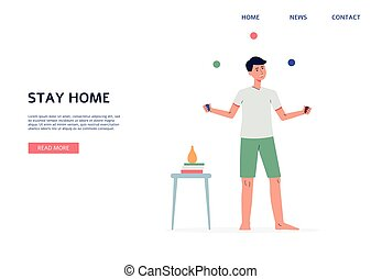 Stay home web banner template with juggling man, flat vector illustration.