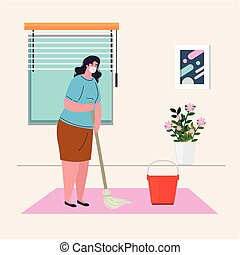 stay home, woman wearing medical mask,internal cleaning of the house, quarantine or self isolation vector illustration design