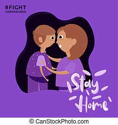 Stay in home poster. Mom and son - Vector