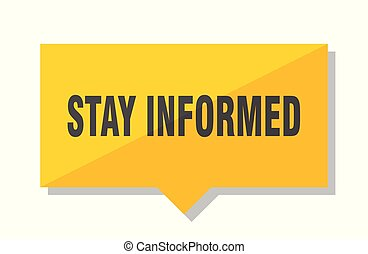 stay informed price tag - stay informed yellow square price...