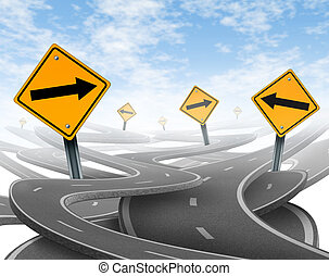 Stay on course symbol representing dilemma and concept of ...