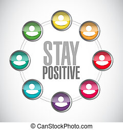 stay positive network sign illustration design