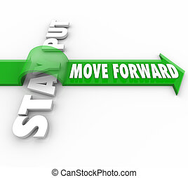 The words Move Forward riding an arrow over Stay Put to symbolize the victory of progressive action over inertia and inanction in being persistent in making progress in reaching a goal or mission