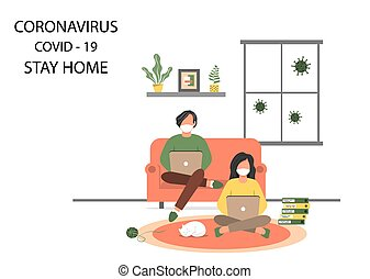 Stay safe at home. A man and a woman work at home to reduce the risk of infection and prevent the spread of the Covid-19 virus. Stay home in quarantine during the coronavirus epidemic.