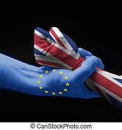Stay with Europe - concept: hands that express the Brexit