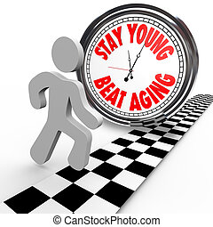 Stay Young Beat Aging Race Against Time Clock - A runner in...