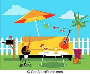 Staycation place in the backyard, including a sofa, a palm tree, a barbecue and other recreational items, EPS 8 vector illustration