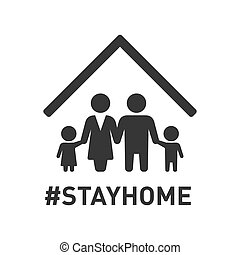 stayhome, icon., 矢量, 家庭, roof., 簽署, 保護, 在下面, coronavirus, hashtag